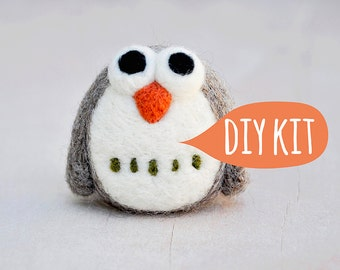 Needle felting kit beginner, Needle felting starter kit, DIY owl, Needle felting DIY Kit, needle felting beginner owl kit, DIY craft kit