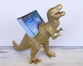 Dinosaur Business Card Holder -T-Rex, Desk Accessory, Guy Gift, Gold Dinosaur, Jurassic Fun, Man Cave, Dinosaur Planter, T-Rex, Only 2 Left