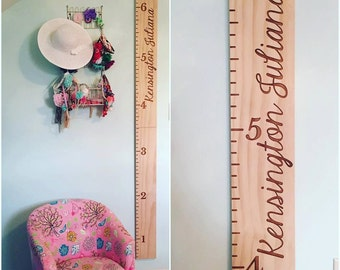 Personalized wooden growth ruler! Laser engraved.