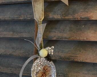 Vintage Antique Silver Spoon Christmas Ornament