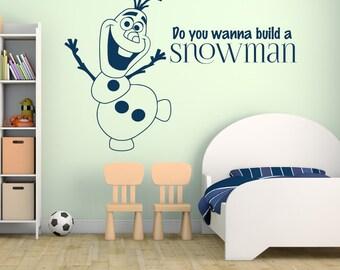 Olaf Decal Vinyl Wall Decal Do You Wanna Buid a Snowman Disney Frozen Sticker for Kids Room Home Decor