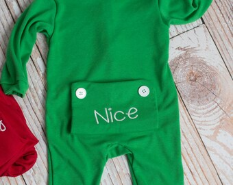 Green Christmas Little Girl's Personalized Long John Pajamas with Bottom Flap
