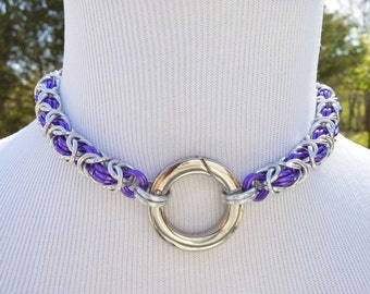 BDSM Slave Collar, Byzantine Chainmaille Submissive O Ring Day Collar, Custom Color