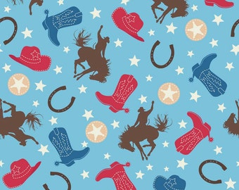 Cowboy Crib Sheet/ Western Crib Sheet/ Cowboy Nursery/ Cowboy Crib Bedding/ Toddler Crib Sheet/ Blue Crib Sheet/ Horse Crib Sheet