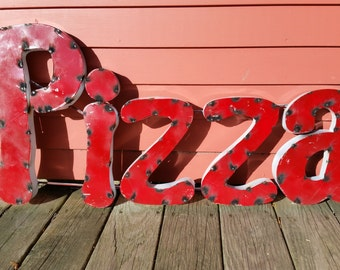 """Retro """"PIZZA"""" sign painted made of recycled tin for your kitchen or restaurant"""