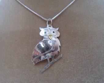 Owl necklace, bird necklace, silver owl necklace, wise owl necklace, bird pendant, owl pendant