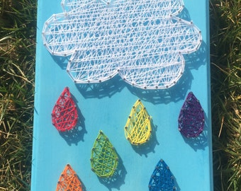 Rainbow Rain Cloud String Art