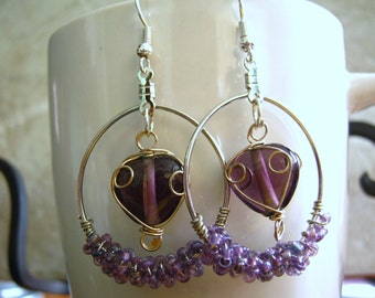 Handmade Purple Heart Hoop Earrings, Purple Wire Earrings, Handmade Jewelry