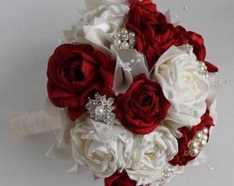 SALE Red Wedding  Bouquet  Brooch Bouquet Bridal Bouquet Bridesmaids Bouquet Wedding Bouquets