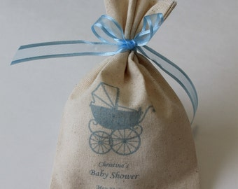 20 Personalized Baby Shower Favor Bag Baby Boy Favor Bags Party Supplies Natural Rustic Bag Shabby Chic Favor Bag Rustic