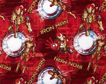 Iron Man fabric.  100% Premium cotton.  Red, gold, white quilting cotton.   Superhero, Comic heros, novel, character, cartoon, little boy