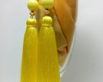 Tassel Earrings, White earrings, Long Tassel Earrings, Luxury Tassel Earring, Silky Tassel Jewelry