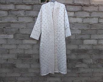 Vintage Victoria Secret Robe Embroidered Satin sz fits Medium Oversized Maxi Exotic Boho Middle East Inspired House Dress Lounge Sleep India
