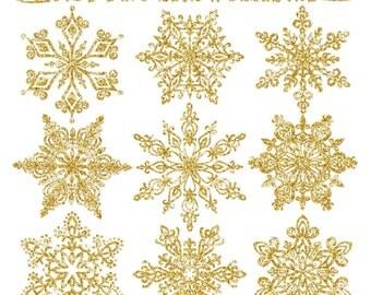 Premium Gold Glitter Snowflakes - Glitter Snowflake Clipart, Snowflake Vectors, Clipart Glitter Snowflakes, Christmas Clipart