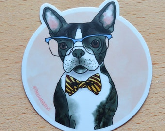 Cute Dog Boston Terrier Laptop Sticker