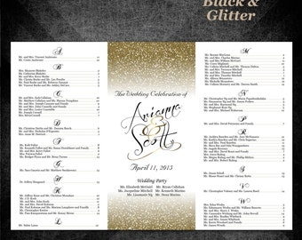 Seating Chart—Black and Gold Glitter Wedding