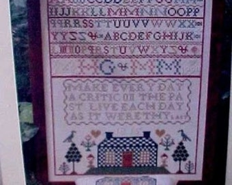 Blue Checkered House Sampler by Marry Garrys Sewing Cabin