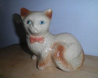 Vintage Cat Statue, Made in Brazil, Ceramic Siamese Cat Figurine, Cat Home Decor, Cat Lovers Gift