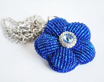 Pendant, embroidery pendant, blue beaded pendant, swarovski jewelry, cristal pendant, handmade, OOAK, jewelry, gift, flower blu necklace