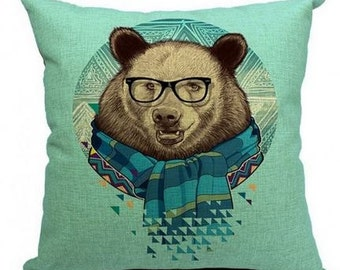 Funky Brown Bear with Scarf - Pillow Cover