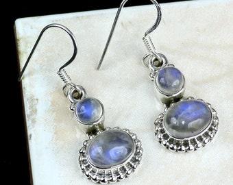 Rainbow Moonstone, Rainbow Moonstone Earring, Rainbow Moonstone Jewellery, Rainbow Earring, 925 Sterling Silver, Dangle Earring, Jewellery