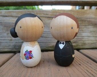 CUSTOM Wedding Cake Toppers / Couple Gift / Heirloom - Kokeshi OR Standard Peg
