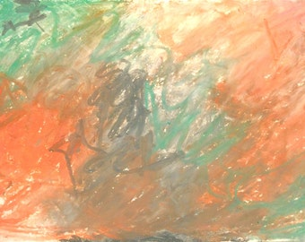 Original Abstract Artwork on acid free archival paper. Oil Pastels in orange, green, grey and white. Home decor, mini painting.