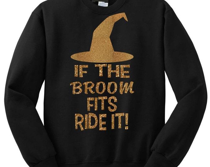 Womens Funny Halloween Sweatshirt . Witch Costume Sweatshirt- gold glitter, witch and broom sweatshirt - funny, glitterly, sexy costume