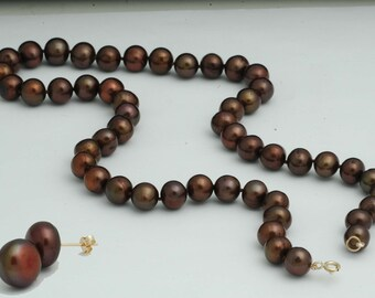 9.5mm genuine round chocolate pearl necklace & earring matching set with 10k solid gold clasp, post and wingnuts