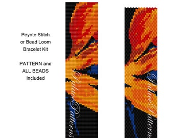 Bird of Paradise Bead Loom or Peyote Stitch Bead Weaving Bracelet KIT P12 - Pattern and All Delica Beads Included - PP210 KIT