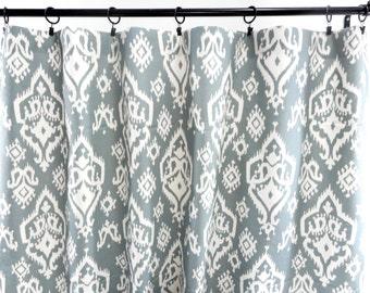Saffron Grey Curtains. Raji Ikat  Saffron  grey Macon. 2 Panel Curtains. Drapes. Window Treatment. Cotton.unlined.Designers. Choose size