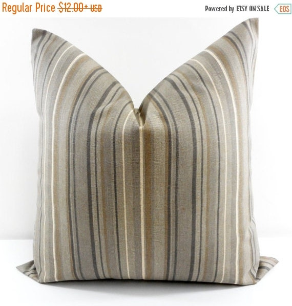 Sale stripe pillow cover brown gray by twistedbobbindesigns for Brown and gray throw pillows