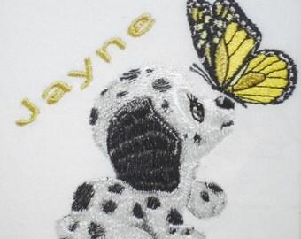 Personalised Fleece Baby Blanket - Dalmatian Puppy & Butterfly Design (39)