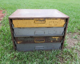 Industrial Steel Parts Bin Organizer Cabinet: Multi colored Hardware ToolBox / Storage Chest, Suitcase-Style Drawers / Trays