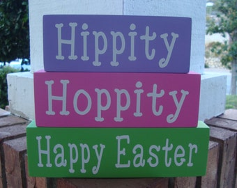Happy Easter Wood Block Stacker, Shelf Sitter Sign, Home Decor, Easter Decoration