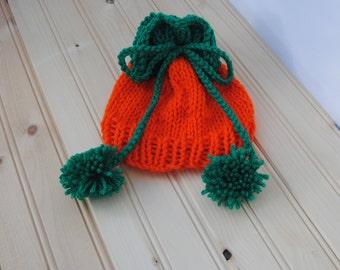 Baby Pumpkin hat with Pom poms