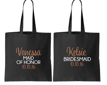 6 Bridesmaid Tote, Bride Tote, Bridal Party Totes, Wedding Bag, Bridesmaid Gift, Tote Bags