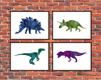 Set of 4 Prints Dinosaur Art Print, Dinosaur Poster, Dinosaur Wall Art, Watercolor Dinosaur, Kids Room Decor, Nursery Decor *30*