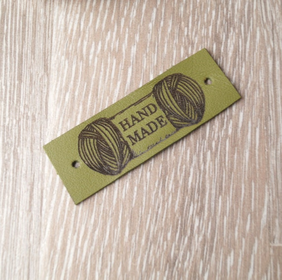 Knitting Labels Personalized : Leather knitting labels custom clothing