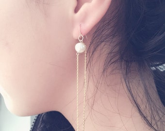 Natural pearl earrings with 14K gold chain drop earrings birthday gifts
