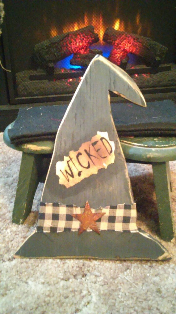 Handmade Primitive Wooden Hot Bath Sign Farmhouse Country: Handmade Wooden Primitive Witch Hat