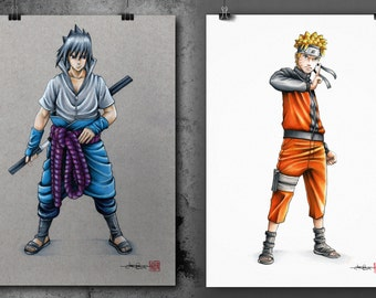 Sasuke & Naruto (Shippuden ) - Illustrated Giclee Print