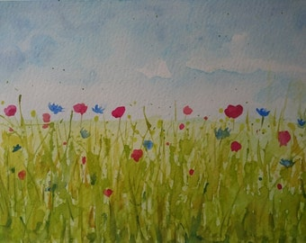 Poppy and cornflower field Original Watercolour painting Abstract nature painting