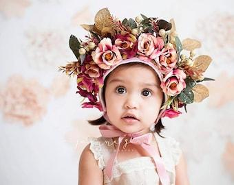 Floral bonnet- Alexandria #sitter size #photographyProp #rts