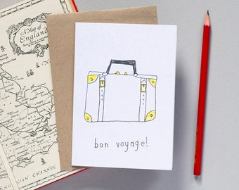Bon Voyage Greetings Card - Travel Card - Sorry You're Leaving Card - Goodbye Card - Funny Card -Illustrated Card - Moving Card
