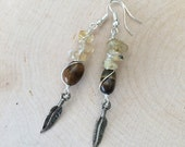 Rutilated Quartz & Tigerseye Gemstone Dangle Earrings-Women's Jewelry-Gemstone Earrings-Handmade Jewelry-Dangle Earrings