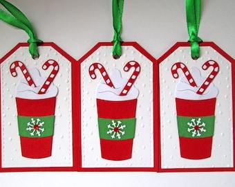 Coffee Cup Christmas Gift Tags - Christmas Tags - Holiday Gift Tags - Christmas Gifts - Christmas Wrapping - Christmas Gift Wrap - Set of 5