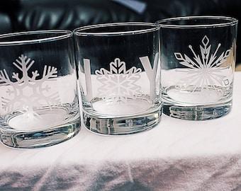 3 snowflake glasses