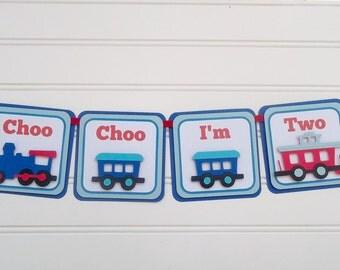 Choo choo train banner, Train party banner, Train Birthday party, Train Decorations, Choo Choo Im Two, Train baby shower, Train I am One