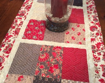 Gray & Red Table Runner